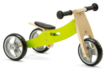 NIC803 Mini 2 in 1 Green Wooden Balance Bike Trike